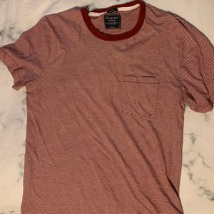 Abercrombie Striped Red and White T-Shirt